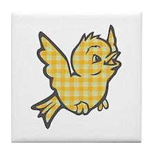 Yellow Gingham Bird Tile Coaster