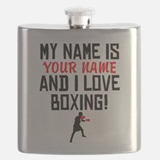 My Name Is And I Love Boxing Flask