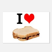 I Love Peanut butter and Jelly Sandwich Postcards