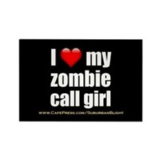 """'Love My Zombie Call Girl"""" Rectangle Magnet (10 pa"""