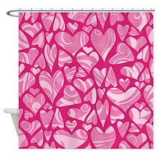 Swirly Pink Valentine Hearts Shower Curtain