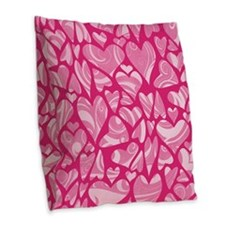 Swirly Pink Valentine Hearts Burlap Throw Pillow