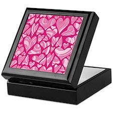 Swirly Pink Valentine Hearts Keepsake Box
