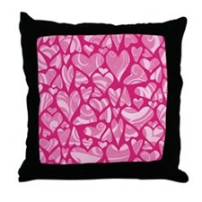 Swirly Pink Valentine Hearts Throw Pillow