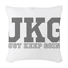 Just Keep Going Gray Woven Throw Pillow