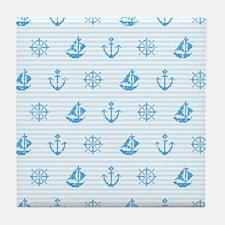 Sea Knitting #2 Tile Coaster