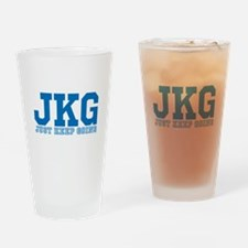 Just Keep Going Blue Drinking Glass