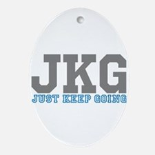 Just Keep Going Gray Blue Ornament (Oval)