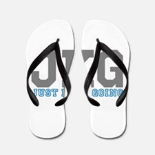 Just Keep Going Gray Blue Flip Flops