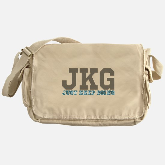 Just Keep Going Gray Blue Messenger Bag
