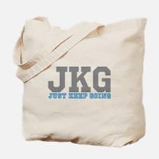 Just Keep Going Gray Blue Tote Bag