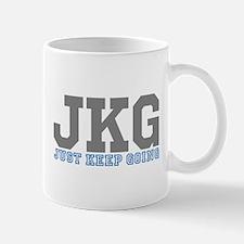 Just Keep Going Gray Blue Mugs