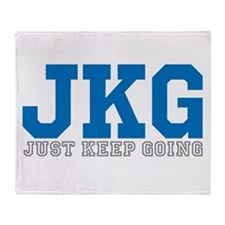 Just Keep Going Gray Blue Throw Blanket