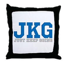 Just Keep Going Gray Blue Throw Pillow