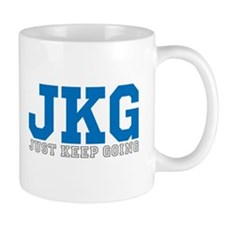 Just Keep Going Gray Blue Mugs