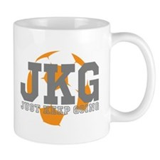 Just Keep Going Soccer Gray Mugs