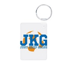Just Keep Going Soccer Blue Keychains