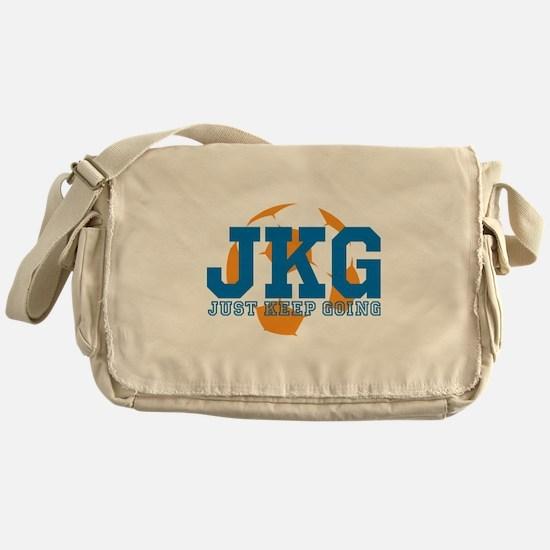 Just Keep Going Soccer Blue Messenger Bag