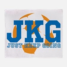 Just Keep Going Soccer Blue Throw Blanket
