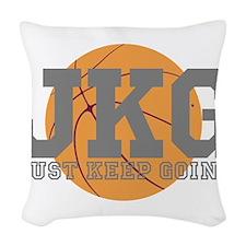 Just Keep Going Basketball Gray Woven Throw Pillow