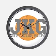 Just Keep Going Basketball Gray Wall Clock