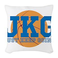 Just Keep Going Basketball Blue Woven Throw Pillow