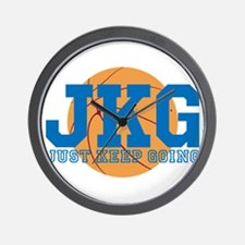Just Keep Going Basketball Blue Wall Clock