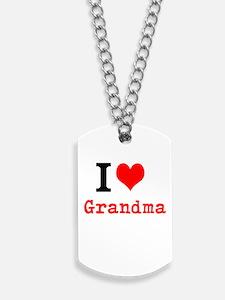 I Love Grandma Dog Tags