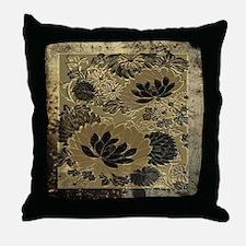 Antique Gold Floral  Throw Pillow