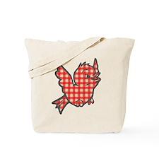 Red Gingham Bird Tote Bag