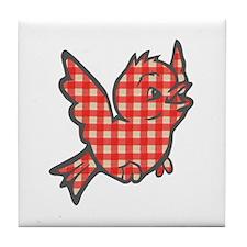 Red Gingham Bird Tile Coaster