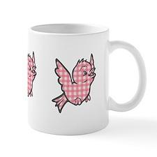 Pink Gingham Bird Mug