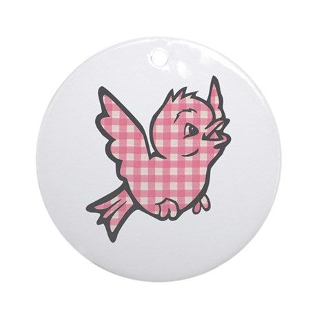 Pink Gingham Bird Ornament (Round)