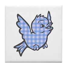 Blue Gingham Bird Tile Coaster