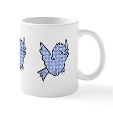 Blue Gingham Bird Mug