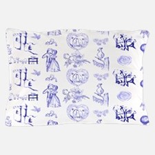 Blue Toile Pattern on 5x7 feet rug Pillow Case
