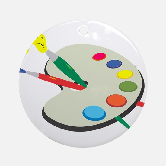 Artist Pallete and Paint Ornament (Round)