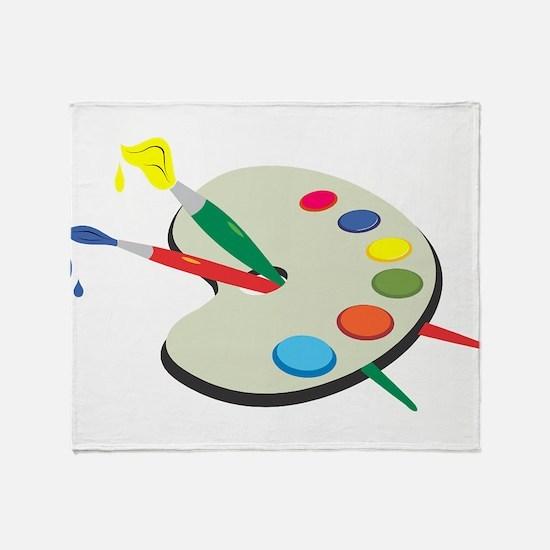 Artist Pallete and Paint Throw Blanket