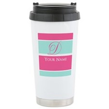 Pink and Teal Monogram Customized Stainless Steel