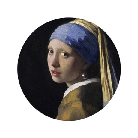 """Jan Vermeer Girl With A Pearl Earring 3.5"""" Button"""