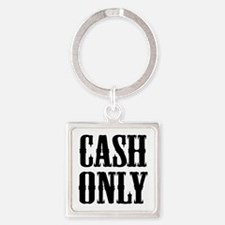 Cash Only Square Keychain