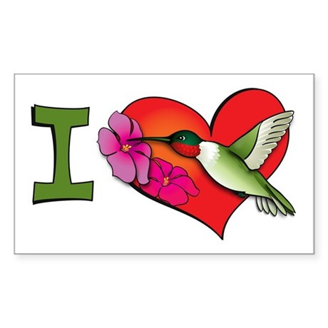 I heart hummingbirds Rectangle Sticker