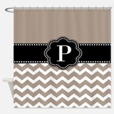 Taupe Chevron Personalized Shower Curtain