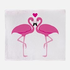 Pink Flamingoes Throw Blanket