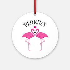 FLORIDA Pink Flamingoes Ornament (Round)