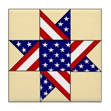 Patriotic Quilt Pattern Tile Coaster