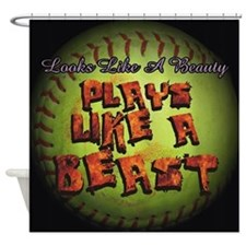 Plays Like A Beast Fastpitch Softball Shower Curta