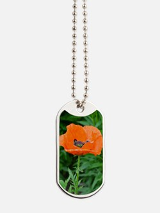 Singel orange poppy flower Dog Tags