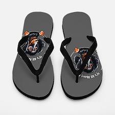Longhair Black Tan Dachshund IAAM Flip Flops