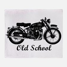 Old School Motorcycle Throw Blanket